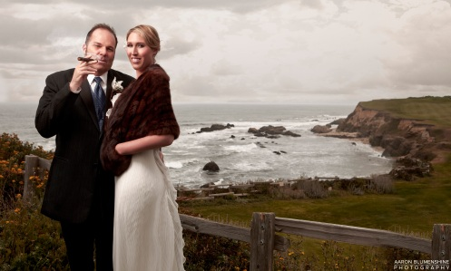 A photograph from a wedding at the Ritz Carlton in Half Moon Bay